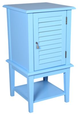 Powell Ocean Blue Shutter Door Storage Accent Table