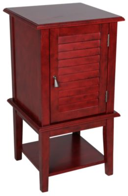 Powell Red Shutter Door Accent Storage Table