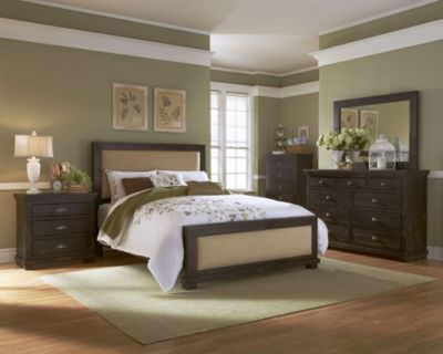 Progressive Willow Black 4-Piece Queen Upholstered Bedroom Set