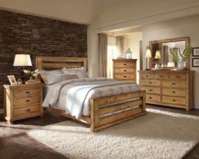 Progressive Willow Pine 4-Piece Queen Bedroom Set