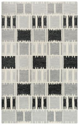 Rizzy Tetra 5' X 8' Black and White Rug