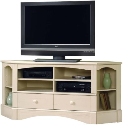 Sauder Harbor View White Corner TV Stand