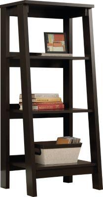 Sauder Select 3 Shelf Jamocha Wood Ladder Bookcase