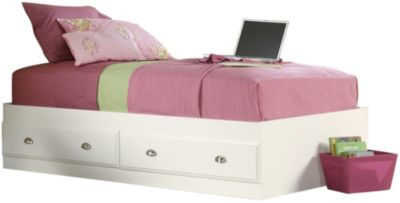 Sauder Shoal Creek White Twin Storage Bed