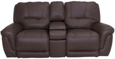 Simon Li M128 Leather Power Recline Console Loveseat