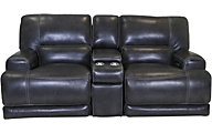 Simon Li M155 Leather Power Recline Console Loveseat