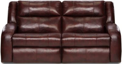 Southern Motion Maverick Burgundy Leather Lay-Flat Reclining Sofa