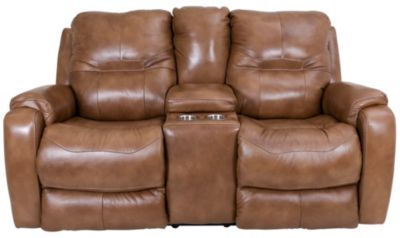 Southern Motion Royal Flush Reclining Leather Console Loveseat