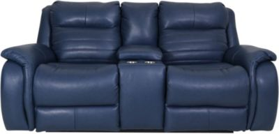 Southern Motion Essex Leather Power Headrest Console Loveseat
