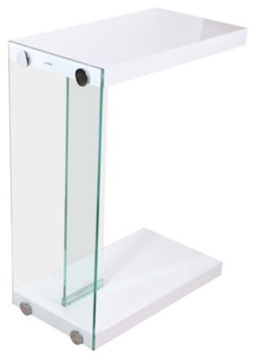 Steve Silver Elaina Glossy White Chairside Table