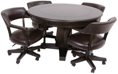 Steve Silver Ruby Game Table & 4 Caster Chairs