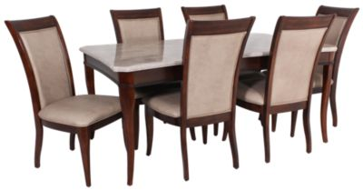 Steve Silver Marseille Marble Top Table & 6 Chairs