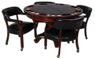 Steve Silver Tournament Black Top Game Table & 4 Chairs