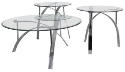 Steve Silver Xavier Round Coffee Table and 2 End tables