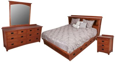 Surewood Oak Mission 4-Piece Queen Storage Bedroom Set