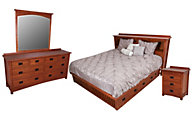 Surewood Oak Mission 4-Piece King Storage Bedroom Set