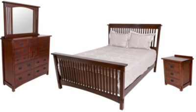 Surewood Oak Chocolate 4-Piece Queen Bedroom Set