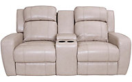 Synergy Livorno Power Reclining Leather Console Loveseat