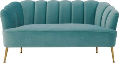 Tov Furniture Daisy Sea Blue Velvet Settee