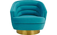 Tov Furniture Canyon Blue Velvet Swivel Chair