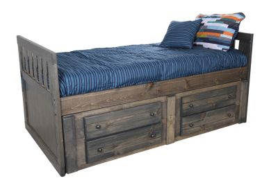 Trend Wood Bayview Rustic Gray Twin Storage Bed Homemakers Furniture