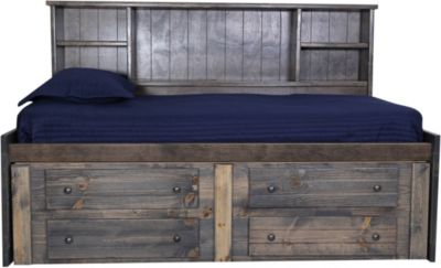 Trend Wood Rustic Gray Twin Captains Bed