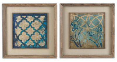Uttermost Stained Glass Indigo Wall Art (Set of 2)