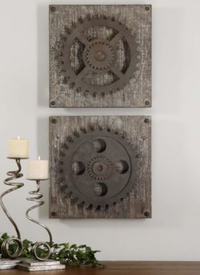 Uttermost Rustic Gears Metal Wall Art (Set of 2)