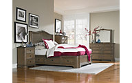 Whittier Wood Stonewood 4-Piece Queen Storage Bedroom Set