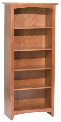 Whittier Wood McKenzie 5-Shelf 26.5-Inch Cherry Bookcase