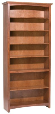 Whittier Wood McKenzie 7-Shelf 38.5-Inch Cherry Bookcase