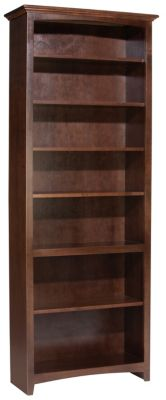 Whittier Wood Mckenzie 7-Shelf Coffee Tall Bookcase