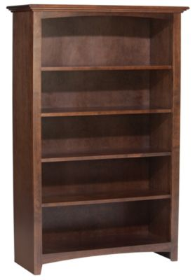 Whittier Wood Mckenzie 5-Shelf Coffee Tall Bookcase